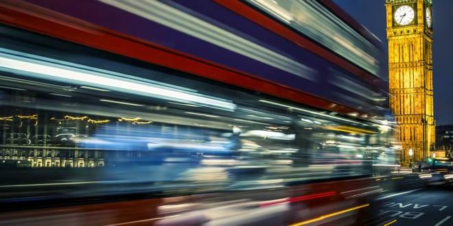 Bus on the Westminster bridge in London