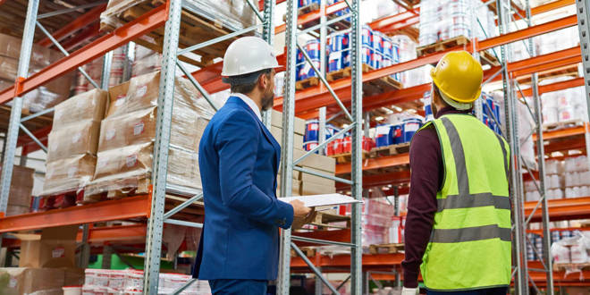 Workers in warehouse management