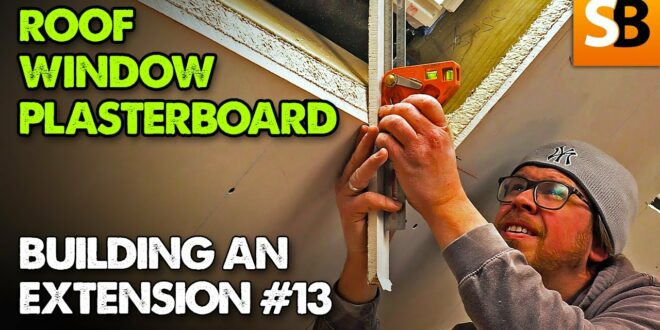 how to plasterboard around a roof window extension build 13 youtube thumbnail