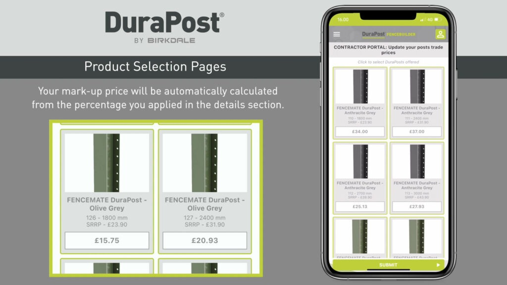 DuraPost App product pages